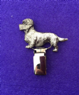 Dog Show Breed Ring Number Clip - Dandie Dinmont Terrier - FULL BODY Silver or Gold Style